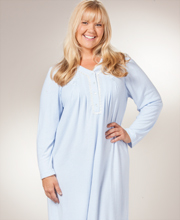 Plus Miss Elaine Nightgown - V-Neck Cuddleknit Long Gown in Soft Blue