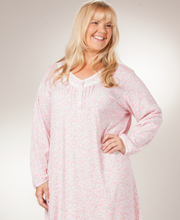 Plus Long Sleeve Cotton-Rich Knit Miss Elaine Nightgown - Pink Ditsy