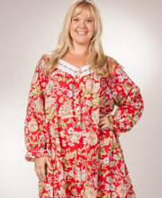Plus La Cera Button-Front Robe/Nightgown in Ruby Floral
