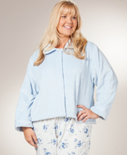 Plus Size Bed Jackets by KayAnna - Peter Pan Collar Fleece in Soft Blue Jacquard