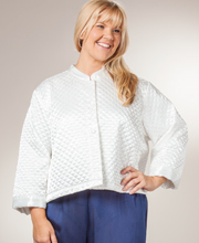 Plus Bed Jackets - KayAnna Quilted Satin Bed Jacket in Ivory