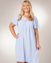 Special - Plus Shadowline Petals Flutter Sleeves Waltz Nightgown - Peri