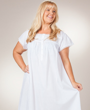 CottonReal Plus Nightgowns - Short Sleeve Ballet Cotton Gown in Embrace