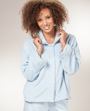 Bed Jackets by KayAnna - Jacquard Plush Peter Pan Collar - Soft Blue