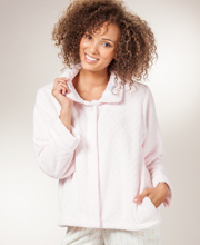 Fleece Bed Jackets - KayAnna Bedjacket Jacquard Plush Peter Pan Collar in Soft Pink