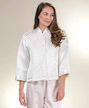 KayAnna Luxurious Quilted Satin Bed Jacket  -  Ivory