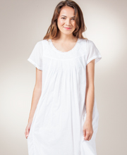 La Cera Boutique Cotton Nightgowns - Short Sleeve Embroidered Waltz Gown - Sweet White