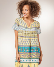 Cotton Dresses by La Cera - Short Sleeve Dress in Canary Prairie