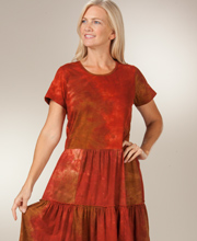 Cotton Casual Dresses by Phool - Short Sleeve Tiered Dress in Harvest Tie-Dye