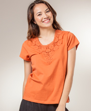 Cotton Shirt - Knit Scoop Neck Cap Sleeve Phool Top in Paprika