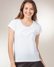 Phool Tops - Short Sleeve Cotton Knit Scoop Neck Shirt in Pearl