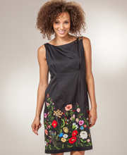 Cotton Embroidered Dresses - La Cera Woven Cotton Sleeveless Shift Dress - Bewitching