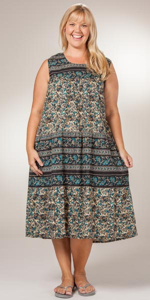 Plus La Cera Dresses - Sleeveless Cotton Long Dress in Teal &amp- Tan