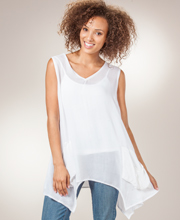 "Sleeveless Tunic Top - Rayon ""Easy Fit"" Blouse In White Trapeze"