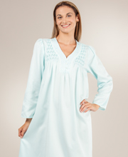 Brushed Back Satin Long Nightgown with Smocking by Miss Elaine - Aqua