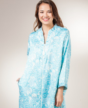 Miss Elaine Robe Brushed Back Satin - Zip Front Bathrobe in Paisley Serenity