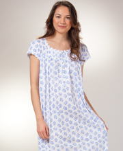 Eileen West Long Nightgown -  Cap Sleeve Jersey Cotton - Floral Cheer