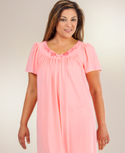 Plus Miss Elaine Nylon Nightgown - Short Classics Flutter Sleeve Gown in Coral