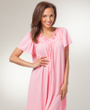 Miss Elaine Short Nightgown - Nylon Classics Flutter Sleeve Gown in Coral