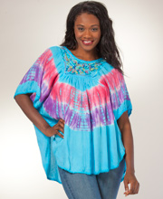 Caftan Tunic Top - Embroidered Easy Fit Poncho Top in Sky Festival
