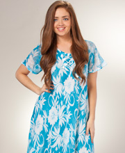 Beach Dress - Short Sleeve Misses Dress in Blue Blooms