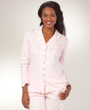 Cotton Pajamas by Aria - Long Sleeve Knit Long PJs - Pink Damask