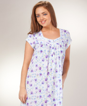 Cotton Modal Nightgowns - Short Eileen West Cap Sleeve - Violet Fancy