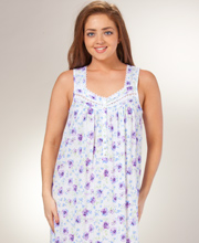 Sleeveless Nightgowns - Eileen West Long Cotton/Modal - Violet Fancy