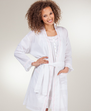 Eileen West Gown/Wrap Robe Set - Short Cotton Peignoir Set - Chablis White