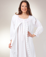 Eileen West Cotton Peignoirs - Cap Sleeve Gown & Robe Set - Chablis White