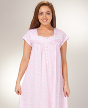 Eileen West Pima Cotton Knit Ballet Nightgown - Pink Cordial