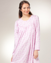 Long Sleeve Nightgown by Calida - 100% Cotton Knit in Pink Wisps