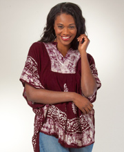 Caftan Tunic Top - Embroidered One Size Fits Most Poncho Top in Mauve