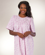 Calida Nightgowns - Cotton Short Sleeve Interlock Knit - Raspberry Floral