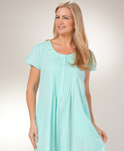 Cotton Nightgowns - La Cera Short Sleeve Lace-Trim Gown in Mint