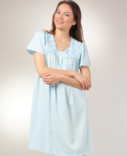Short Aria Nightgowns - Cotton-Rich Scoop Neckline in Seaside Sprinkle