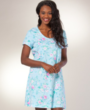 Cotton Nightshirt - Carole Hochman Short Sleeve Knit  in Key Largo