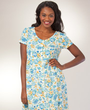 Short Sleeve La Cera Rayon Button Front Dress in Flower Delight