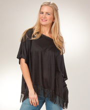 Women's Short Kaftan Top - Plus Cotton Knit Top - Fringe Bottom in Vixen