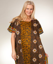 Plus Caftan Lounger - One Size Long Cotton Caftan in Orange Creek