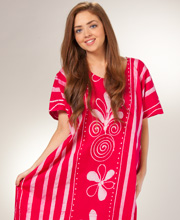 100% Cotton Caftan - One Size Long Lounger in Strawberry Cabana