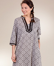 La Cera Cotton Caftan - 2/3 Sleeve Woven Lounger - Mandolin Black