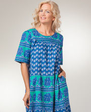 La Cera Dresses - Cotton Short Sleeve Mid-Length Dress in Blue Daisy