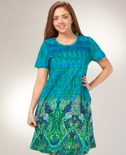 Cotton Knit Dresses - La Cera Short A-Line Dress - Paisley Paradise