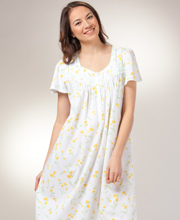 Short Sleeve Nightgowns - Cotton-Rich Knit Aria Long Gown - Lemon Drop