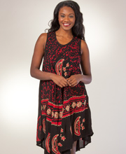 Misses Beach Coverup - One Size Sleeveless Beach Dress in Astral Red