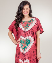 Caftan Loungers - Cotton One Size Fits Most Kaftan in Cranberry Hearts