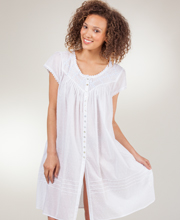 Eileen West Nightgowns - Short Sleeve Waltz Button Front in Celestial