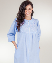 Long Zip Robes - Miss Elaine 2/3 Sleeve Seersucker Robe in Sky Gingham