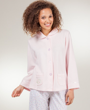 Bed Jacket Lightweight Waffle Poly Peter Pan Collar by Kay Anna In Pink